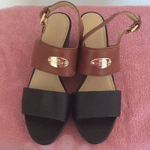 Coach Two Tone Leather Wedge Sandals